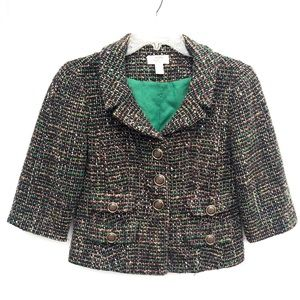 LOFT | Green Tweed Cropped Petite Blazer